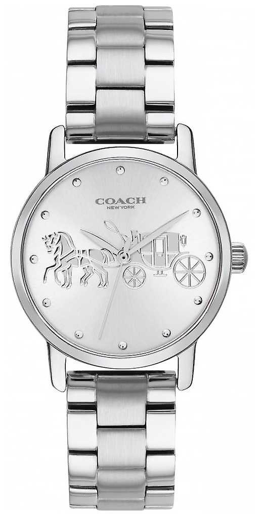 Coach Womens Grand Black Case & Bracelet Silver Stainless Steel 14502975 Watch