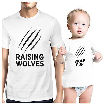 Verhoging wolven wit baby T-Shirt Matching voor eerste Fathers Day