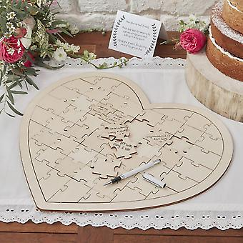 Boho Rustic Style Heart Shaped Jigsaw Alternative Guestbook Wooden Pieces
