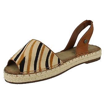 Ladies Savannah Open Toe Espadrille Sling Back Patterned Sandal F0841