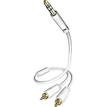 Inakustik RCA / Jack Audio/phono Cable [2x RCA plug (phono) - 1x Jack plug 3.5 mm] 0.50 m White gold plated connectors