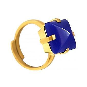 Damen - Ring - 925 Silber vergoldet - Chalcedon - blau - 12 mm - Größenverstellbar