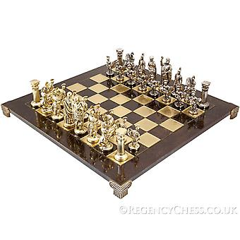 Manopoulos Large Greek Roman Army Metal Chess Set