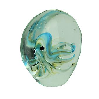 Captive Blue / Green Octopus Art Glass Paperweight