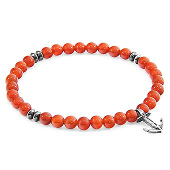 Red Carnelian Starboard Silver and Stone Bracelet