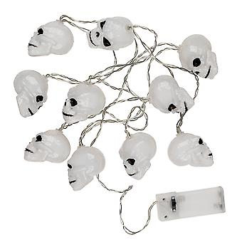 TRIXES 1 x String with 10 Skull LED Lights - Battery operated Halloween Decoration