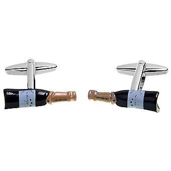 Zennor Champange Bottle Cufflinks - Black/Bronze/White