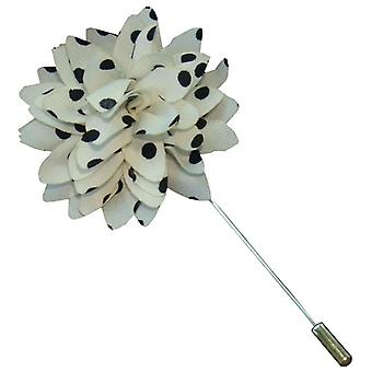 Bassin and Brown Spotted Flower Jacket Lapel Pin - White