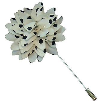 Bassin y Brown Spotted Pin de solapa de la chaqueta de flores - blanco