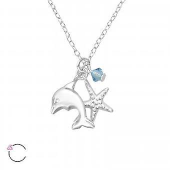 Collana delfino in argento ragazze con un cristallo di Swarovski