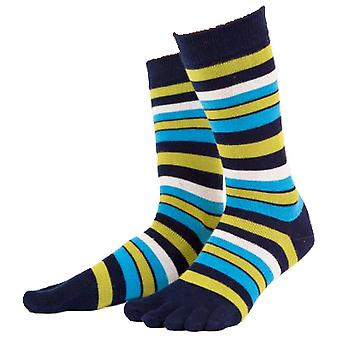 TOETOE Essential Striped Mid Calf Socks - Rock Navy/Light Blue/Green