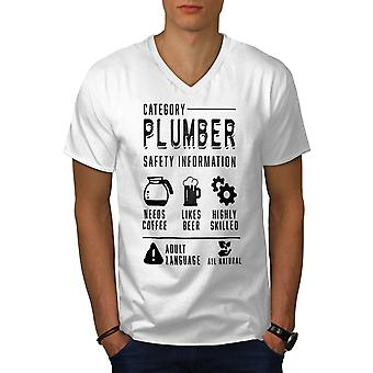 Plumber Cool Job Men WhiteV-Neck T-Shirt | Wellcoda