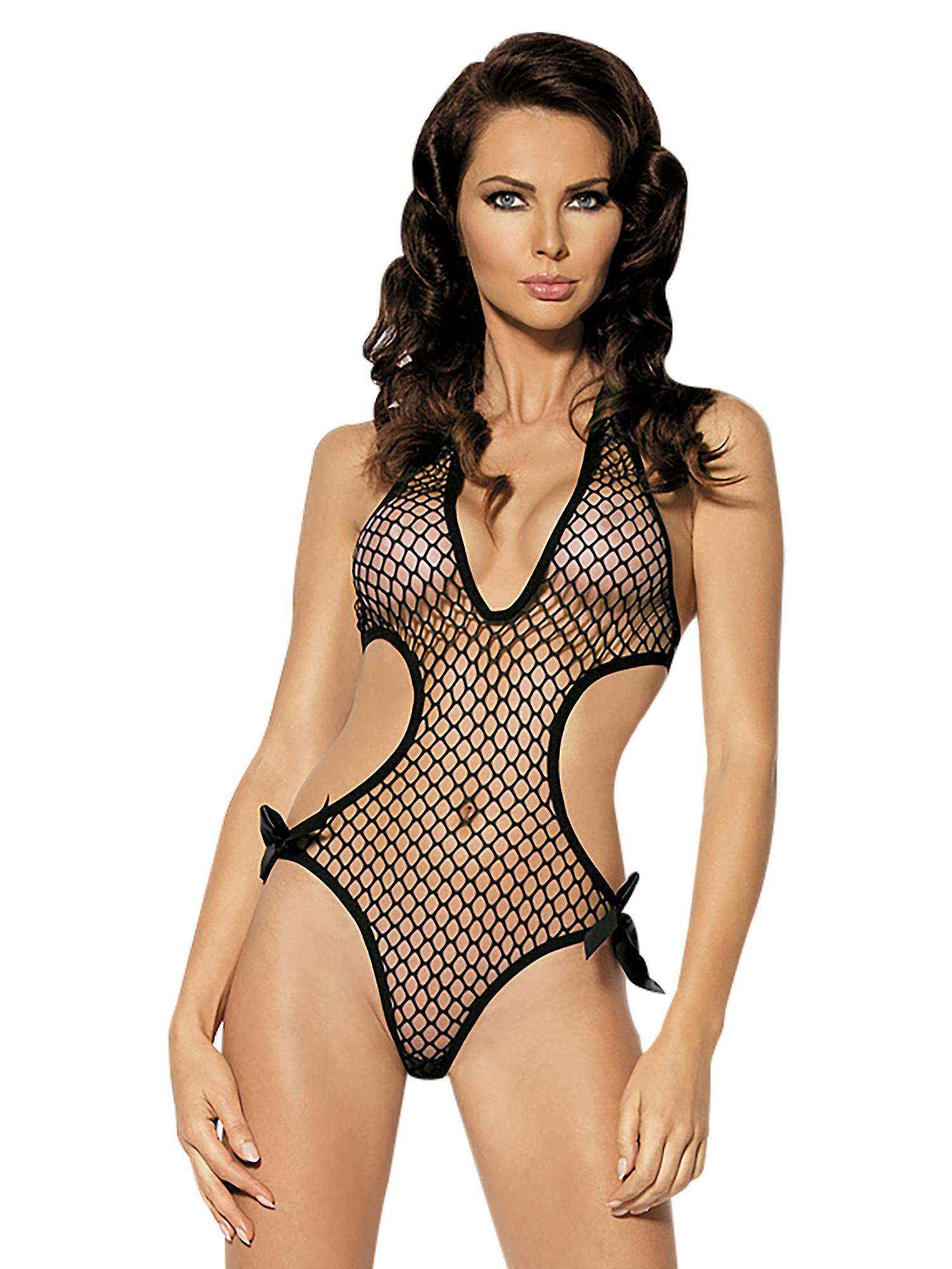 Sexy Lingerie Black Fishnet Cutout Body Bows