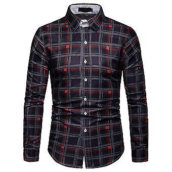 Cloudstyle Men's Shirt Long sleeves Plaid Casual Shirt
