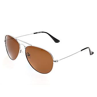 Bertha Brooke Polarized Sunglasses - Silver/Brown