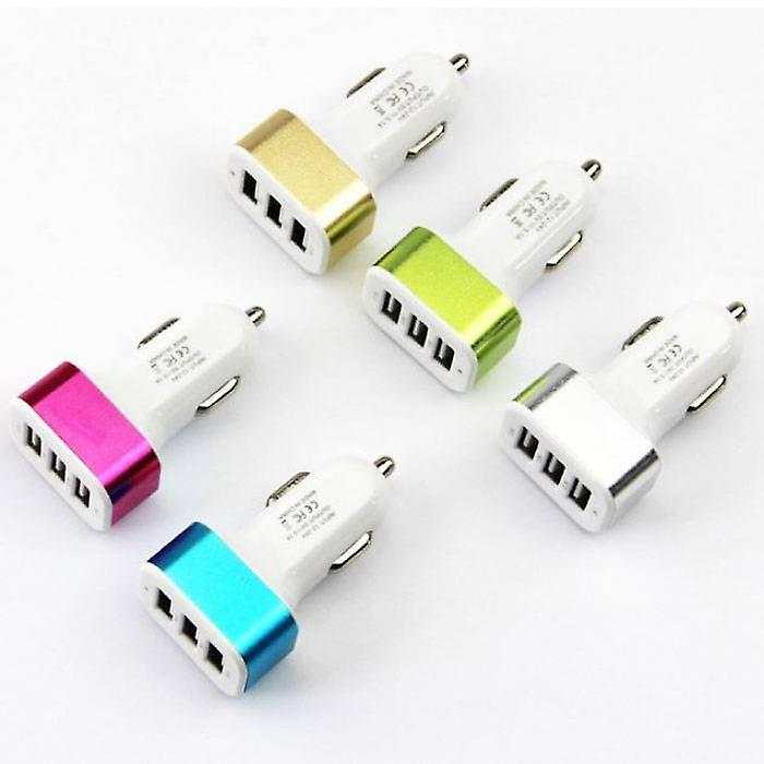 Stuff Certified® 5-Pack High Speed ??3-Port Charger / Carcharger Pink