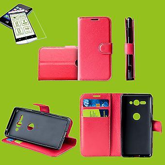 Voor Samsung Galaxy A50 A505F/A307F Case Wallet Premium rode beschermende case gevaldekking van geval geval + 0.26 mm H9 2,5 hard glas