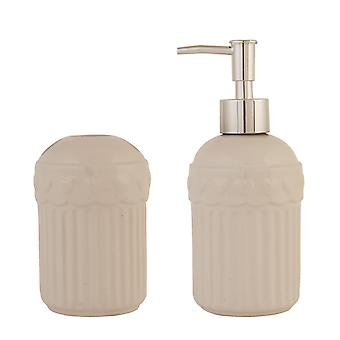 Clayre & EEF 6CE0323 8 x 17 cm white set soap dispenser toothbrush holder dia.