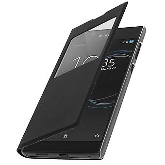 Smart view window flip case for Sony Xperia L1, slim cover - Black