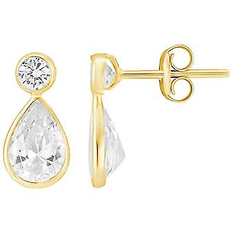 Mark Milton Pear and Round Cubic Zirconia Earrings - Yellow Gold/Silver