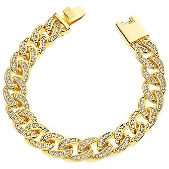 Iced out armband ketting - CUBAN CZ 12 mm goud
