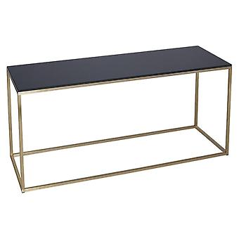 Gillmore Black Glass And Gold Metal Contemporary TV Stand