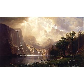 Between the mountains of the Sierra,Albert Bierstadt,60x36cm