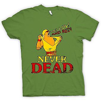 T-shirt das mulheres - Hulk Hogan - amarelo e vermelho nunca morreu