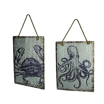 Ribbed Texture Galvanized Metal Octopus and Crab Art Wall Hanging Set