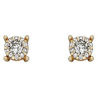 Boucles d'oreilles Elements Gold Diamond Cluster - Or/Argent
