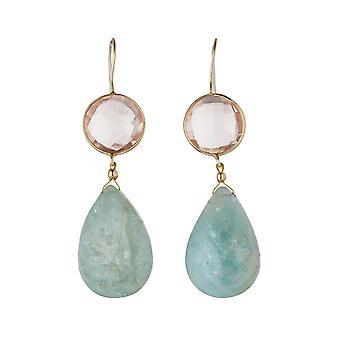 Gemshine øredobber med aquamarines og Rose kvarts gemstone dråper. 925 sølv belagt