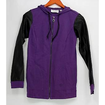 Linea por Louis Dell ' Olio mulheres ' s camisola XXS com capuz Zip frente roxo A267865