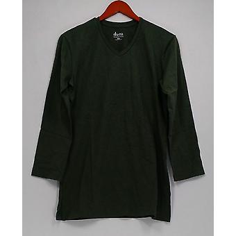 デニム&Co.ウィメンズ'sトップXXSエッセンシャルロングスリーブオーバーサイズグリーンA217501