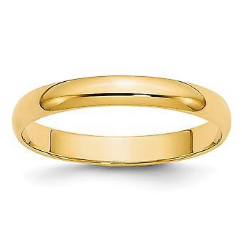 14k Sólido Polido Meia Rodada Peso Leve 3mm Meia Rodada Peso Pena Anel Joias Para Mulheres - Tamanho do anel: 4