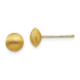 14k Ouro Amarelo 7mm Brincos de satin Brincos joias para mulheres