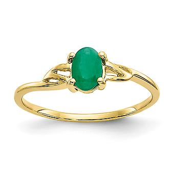 10k Yellow Gold Oval Polished Emerald Ring Size 6 Jewelry Gifts for Women