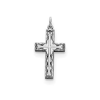 925 sterling silver solid polerad Gravable laser etsad laser designad Cross charm-. 4 gram