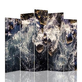 Dekorativa rumsavdelare, 5 paneler, dubbelsidig, duk, vatten abstraktion 1