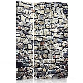 Divisor de quarto, 3 painéis, Single-face, lona, parede de pedra 1