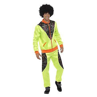 Mens de 80 Neon verde Shell terno traje do vestido extravagante