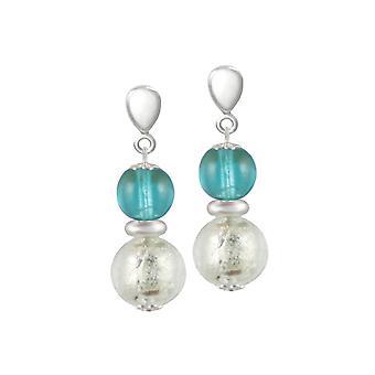 Éternelle Collection Veneto Aqua Murano verre fermoir goutte Clip boucles d'oreilles