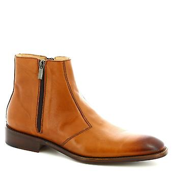 Leonardo Shoes Men's handmade ankle boots in tan calf leather with side zip