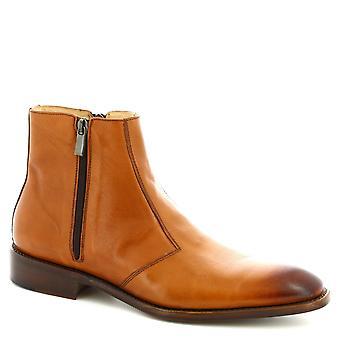 Leonardo Schuhe Men's handgemachte Stiefeletten aus braunem Kalbsleder mit seitlichem Reißverschluss