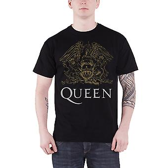 Queen T Shirt classic Crest band logo gold new Official Mens Black