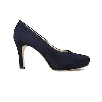 Paul Green 2834-42 Navy Nubuck Leather Womens Slip On Stiletto Heel Court Shoes