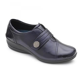Padders Simone 3 Ladies Leather Wide (e/2e) Shoes Navy