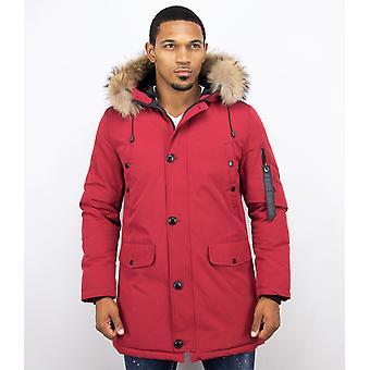 Parka Jacket Men – With Fur Collar – Red
