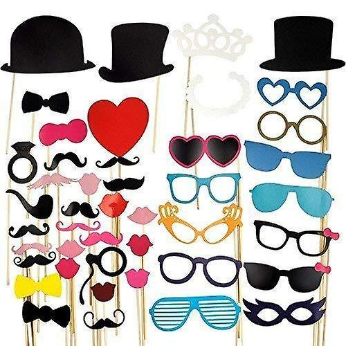 44pcs colorful props on a stick mustache photo booth party