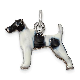 925 Sterling Silver Enameled Smooth Hair Fox Terrier Charm Pendant Necklace Jewelry Gifts for Women