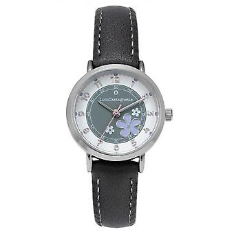 Children's Watch Lulu Castagnette 38899 - Round case m tal White dial Grey leather bracelet